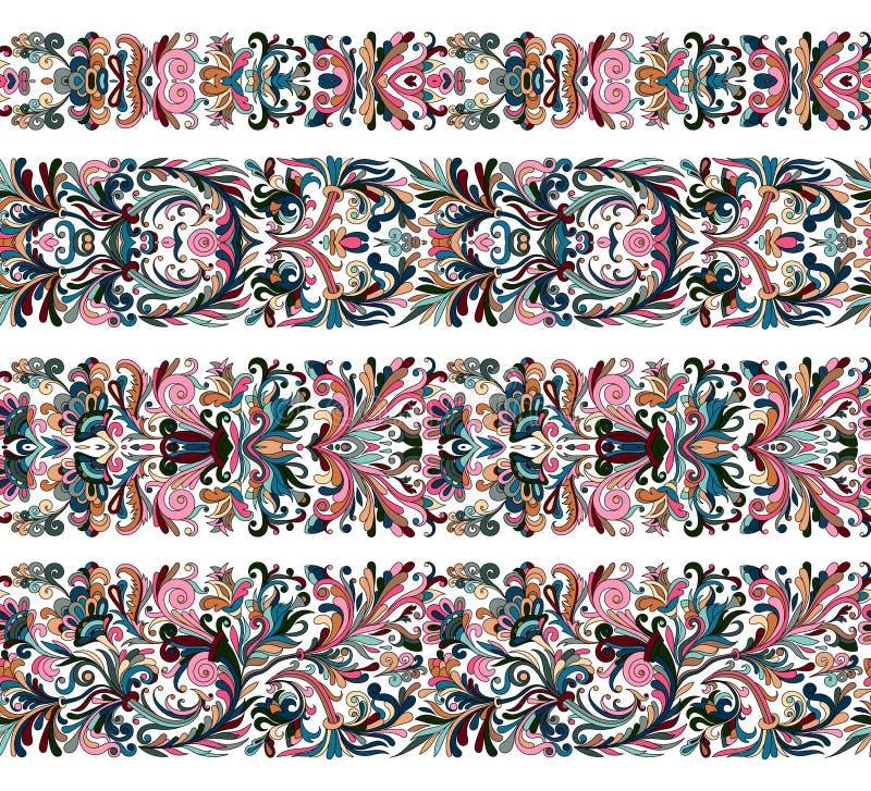 L'ensemble de frontière de vintage balaye des calibres Les éléments floraux baroques des cadres conçoivent et paginent des décora illustration stock