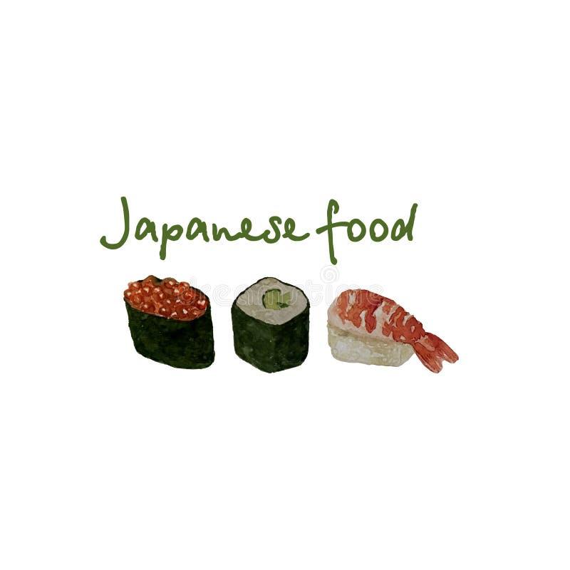 L'ensemble de fruits de mer d'aquarelle avec des sushi, des poissons de moule de crevette et des coquilles a isolé l'illustration illustration stock