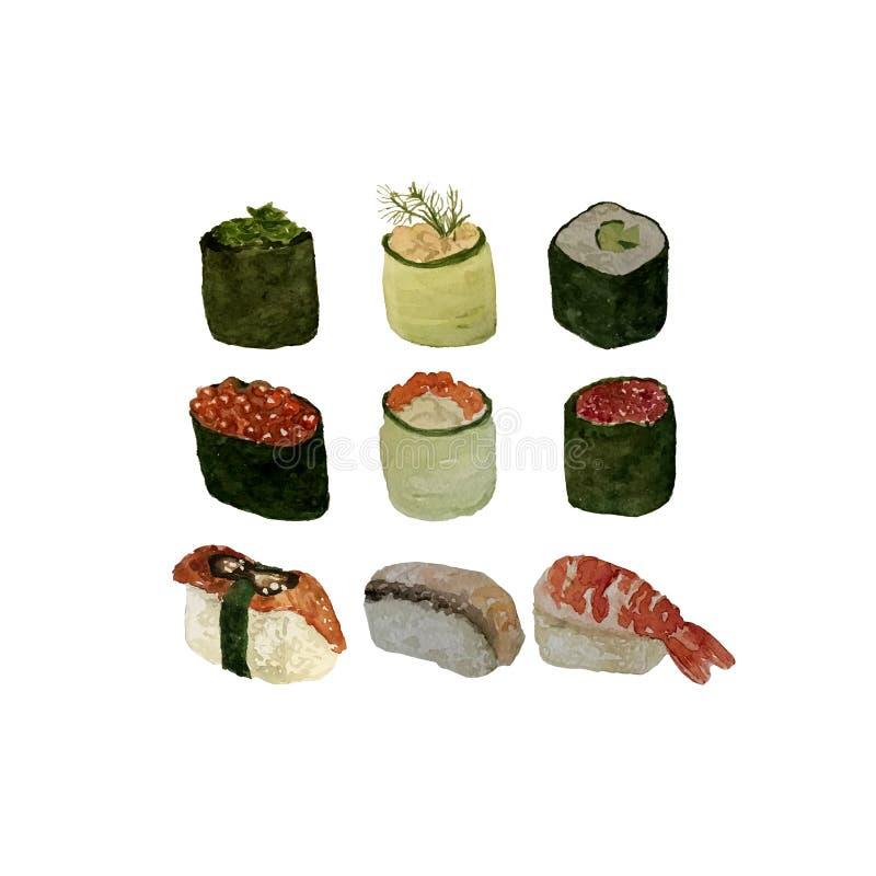 L'ensemble de fruits de mer d'aquarelle avec des sushi, des poissons de moule de crevette et des coquilles a isol? l'illustration illustration de vecteur