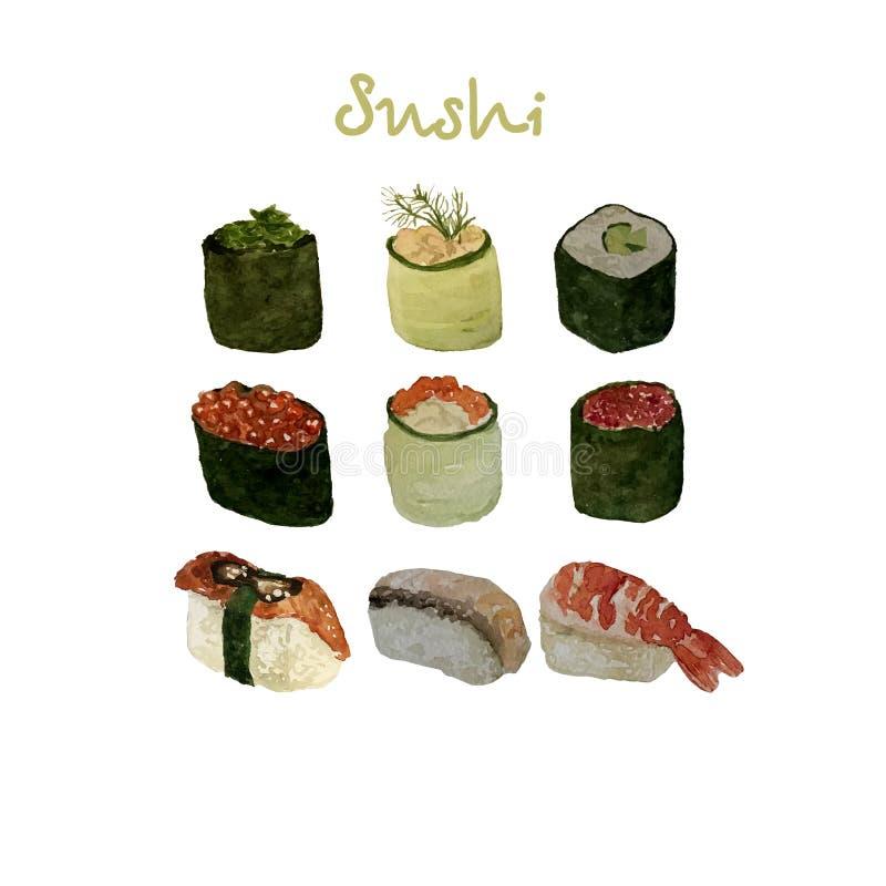 L'ensemble de fruits de mer d'aquarelle avec des sushi, des poissons de moule de crevette et des coquilles a isol? l'illustration illustration stock