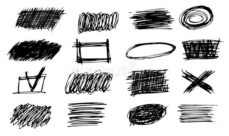 L'ensemble de griffonnage audacieux simple de hachure raye, des courbes, cadres Croquis de crayon d'isolement sur le blanc Ligne  illustration libre de droits