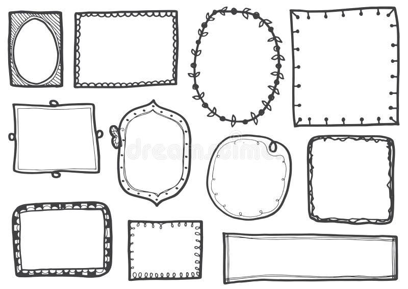 L'ensemble de griffonnage raye l'illustration tirée par la main de vecteur de cadres illustration stock