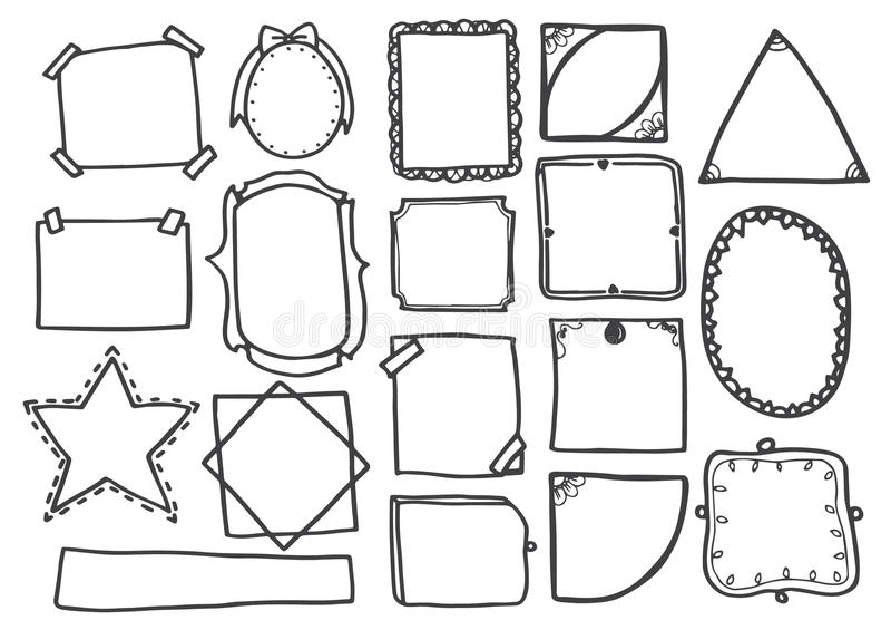 L'ensemble de griffonnage raye l'illustration tirée par la main de vecteur de cadres illustration libre de droits