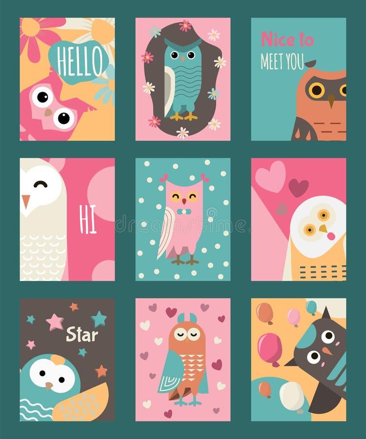 L'ensemble de hibou de cartes ou les bannières dirigent l'illustration Bonjour, salut, comment allez vous Oiseaux sages de bande  illustration stock
