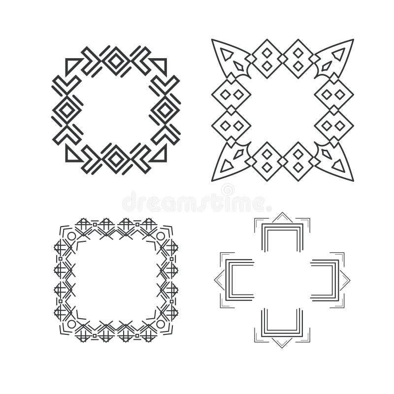 L'ensemble de hippie géométrique à la mode de formes encadre la collection illustration stock