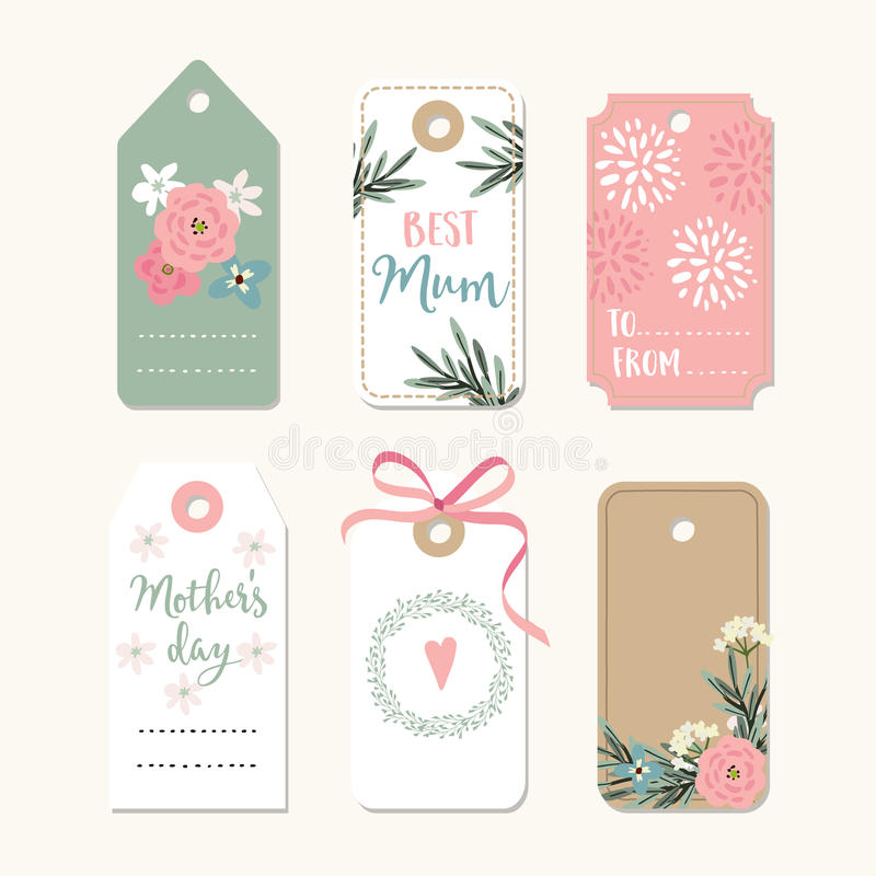 L'ensemble de jour de mères, d'anniversaire ou de cadres romantiques de vintage de mariage, cadeau étiquette et des labels avec l illustration stock
