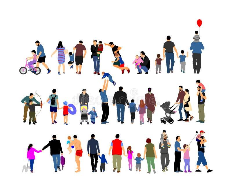 L'ensemble de jour de pères, groupe de personnes de famille dirigent l'illustration d'isolement sur le fond blanc Père avec le fi illustration libre de droits