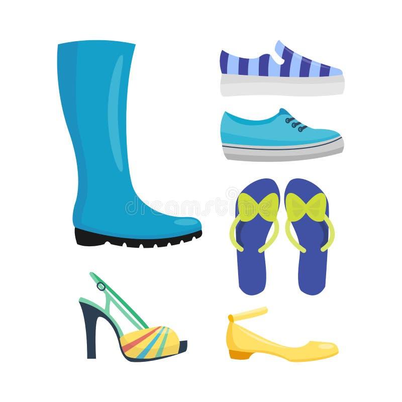 L'ensemble de la collection plate de vecteur de conception des chaussures des femmes de cuir a coloré l'illustration de bottes de illustration de vecteur