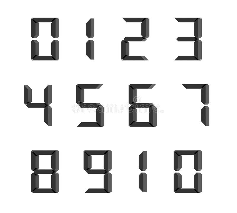 L'ensemble de la forme de dix nombres zéro dix, les textes numériques de code conçoivent illustration de vecteur
