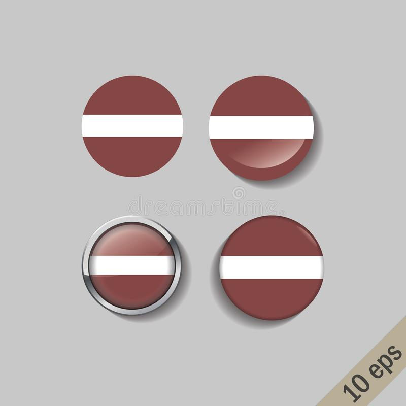 L'ensemble de la LETTONIE diminue autour des insignes illustration stock