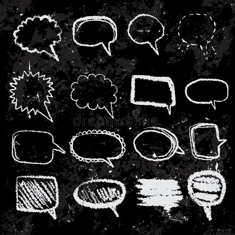 L'ensemble de la parole de croquis de griffonnage bouillonne sur le tableau noir tiré par la main avec des craies de couleur illustration de vecteur