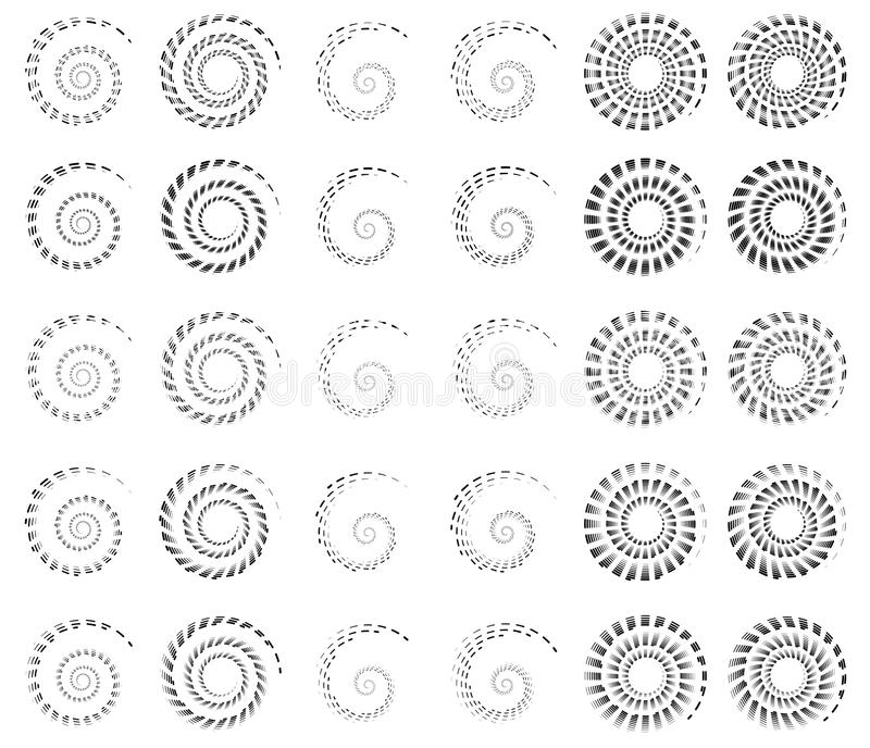 L'ensemble 30 de la spirale, hélice forme, les éléments concentriques et tournants, s illustration libre de droits