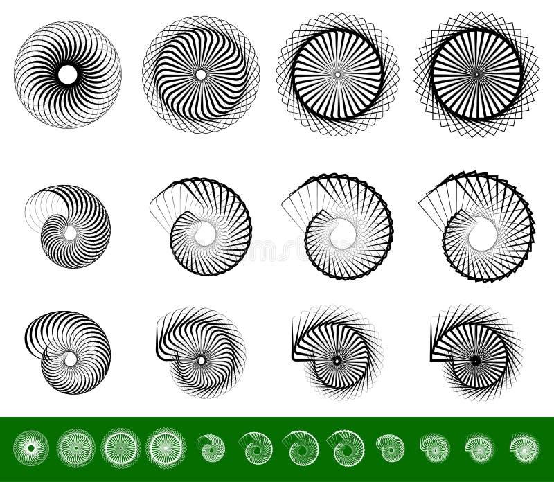L'ensemble 12 de la spirale, remous, pirouette forme illustration de vecteur