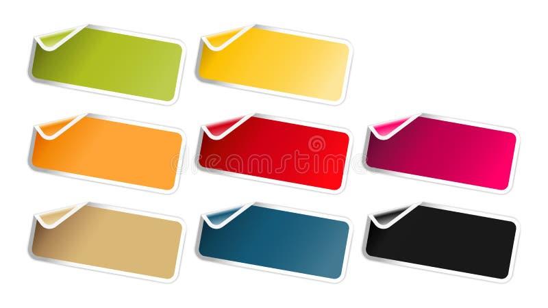 L'ensemble de label brillant avec le coin plié illustration stock