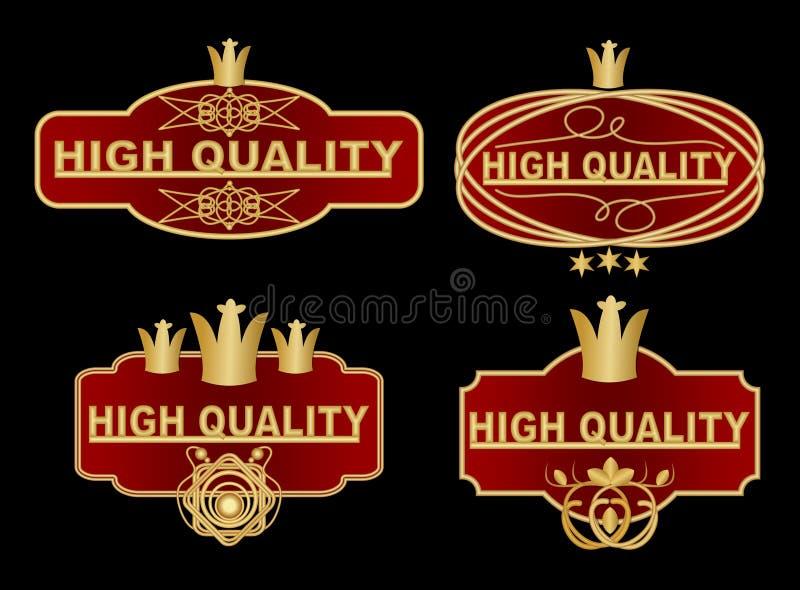 L'ensemble de label de haute qualité dans la conception rouge foncé et d'or avec les éléments fleuris graphiques, couronne royale illustration stock