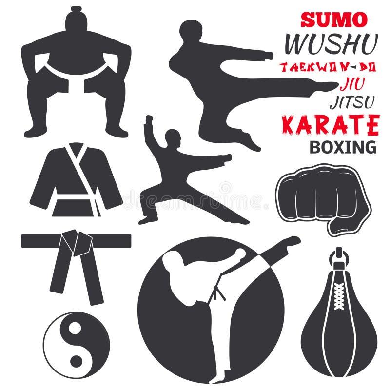 L'ensemble de labels de combat frais d'emblèmes de club combattent l'illustration de vecteur de karaté de poing de sport de poinç illustration de vecteur