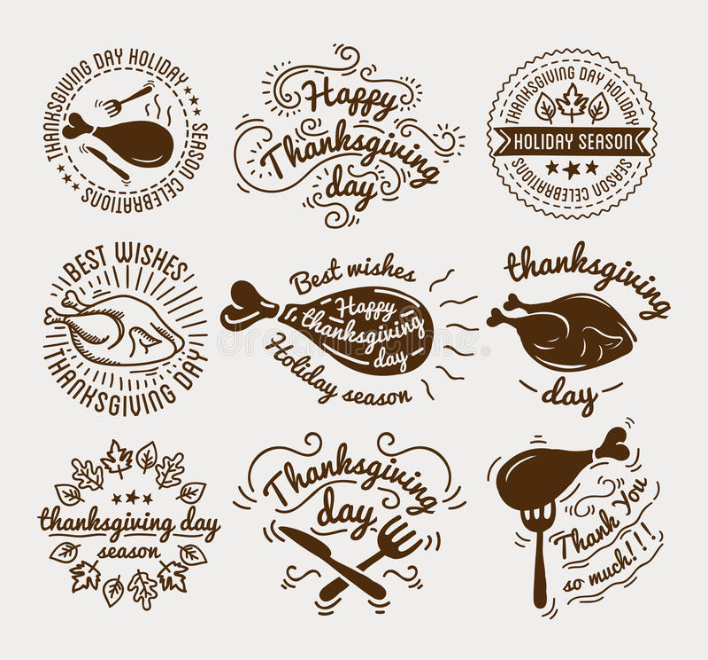 L'ensemble de labels conçoivent le calibre au jour de thanksgiving Icônes noires avec la dinde pour la bannière et l'invitation É illustration de vecteur