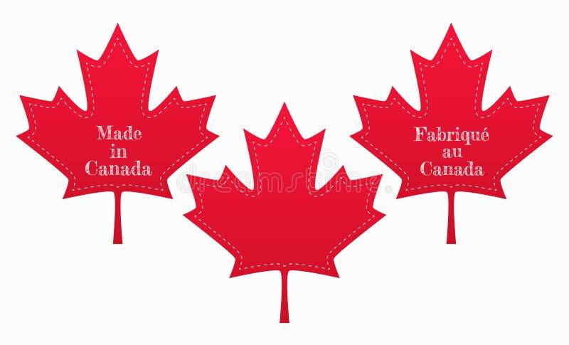 L'ensemble de labels d'érable rouge avec fait au Canada se connectent des langues anglaises et françaises Illustration d'isolemen illustration de vecteur