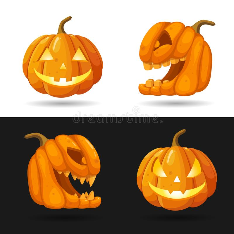 L'ensemble de lanterne de Jack o se dirige avec les bougies brûlantes Caractères de potiron de Halloween avec différentes express illustration stock