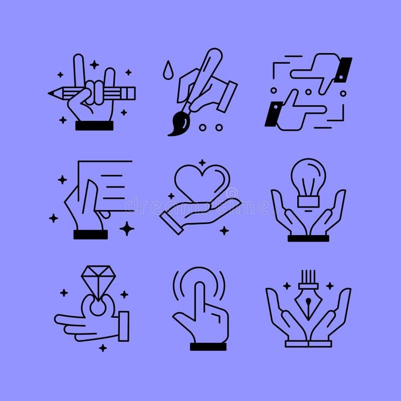 L'ensemble de ligne dirige des icônes dans le style plat illustration de vecteur