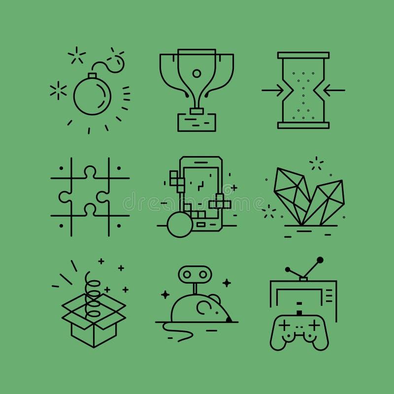 L'ensemble de ligne dirige des icônes dans le style plat illustration libre de droits