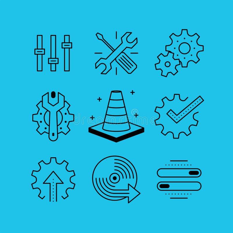 L'ensemble de ligne dirige des icônes dans le style plat illustration stock