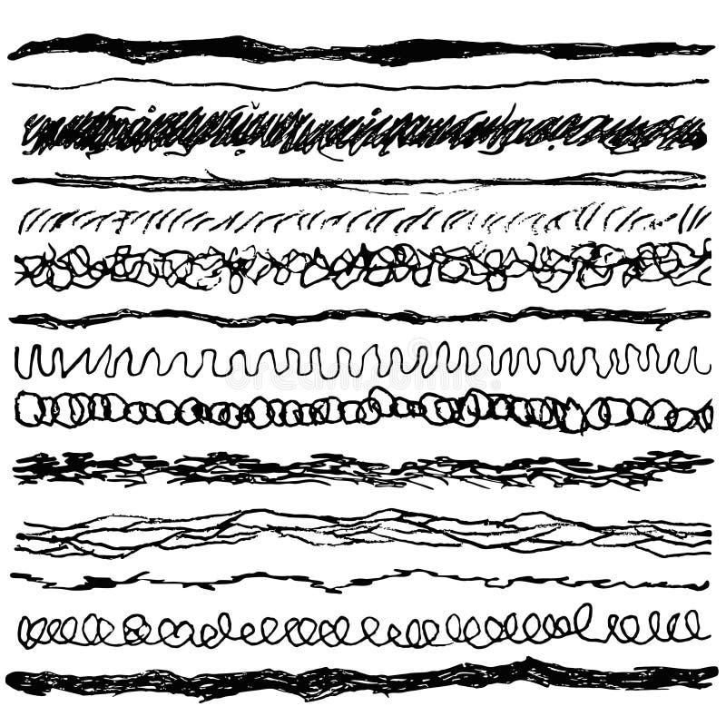 L'ensemble de ligne encre frotte le stylo bille Collection de brosses de grunge avec les bords approximatifs illustration de vecteur