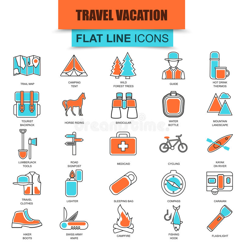 L'ensemble de ligne mince récréation de tourisme de nature d'icônes, camping extérieur et voyage vacation illustration de vecteur