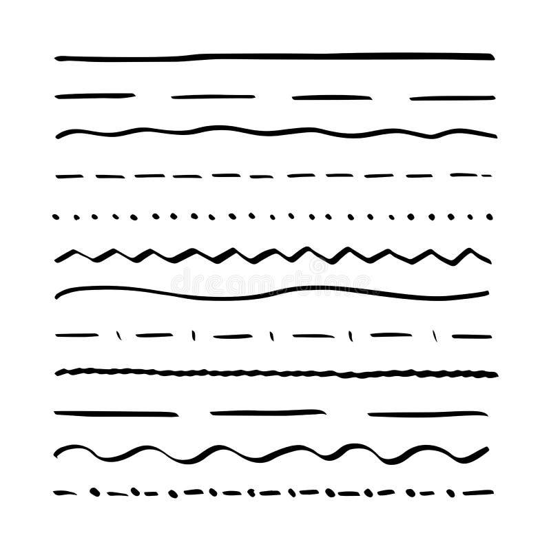 L'ensemble de lignes tirées par la main textotent les éléments de étiquetage Le cru soulignent la frontière d'éléments Course de  illustration de vecteur