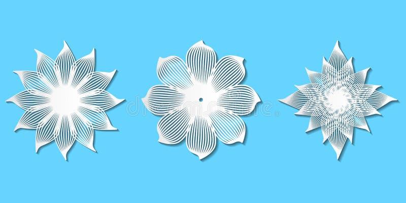 L'ensemble de livre blanc a coupé les fleurs élégantes de dentelle de vecteur pour le decoratio illustration libre de droits