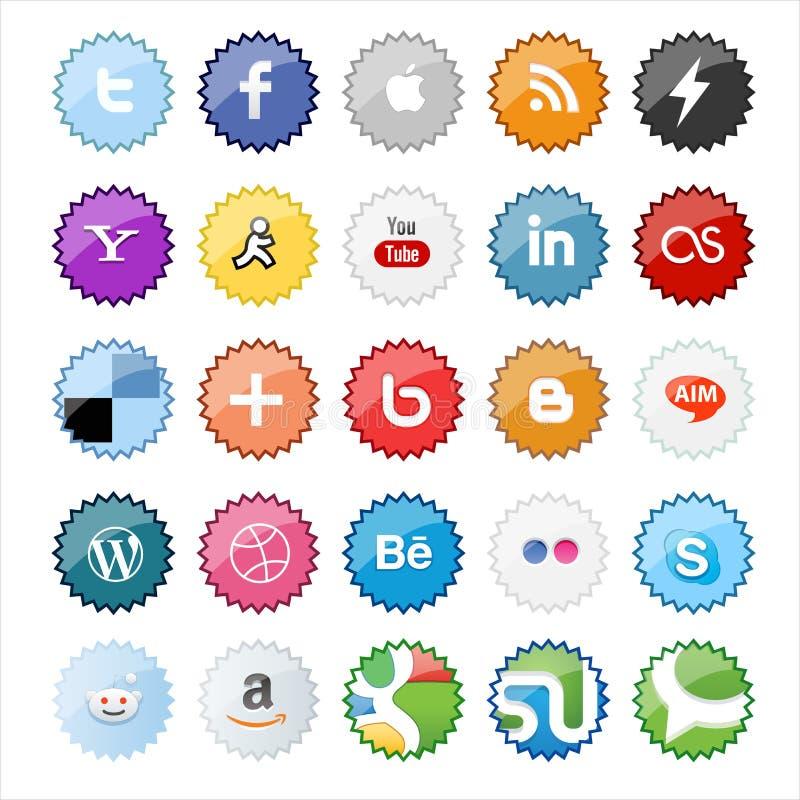 Boutons et icônes sociaux de médias de forme d'étoile illustration libre de droits