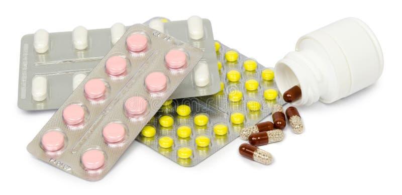 L'ensemble de médicaments pour une guérison rapide et soutiennent la vie D'isolement images stock