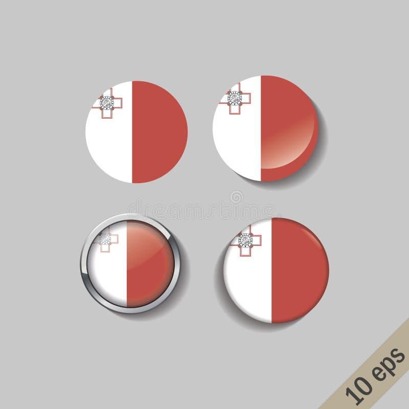 L'ensemble de MALTE diminue autour des insignes illustration stock