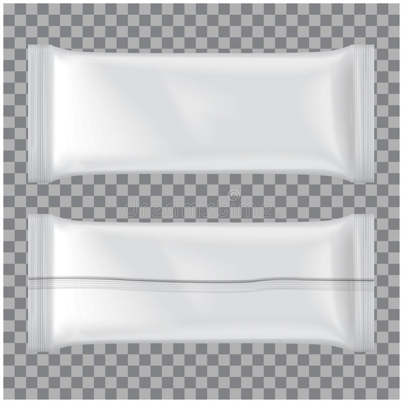 L'ensemble de maquette de paquet de crème glacée, dirigent le paquet vide blanc de casse-croûte de sachet en matière plastique illustration de vecteur