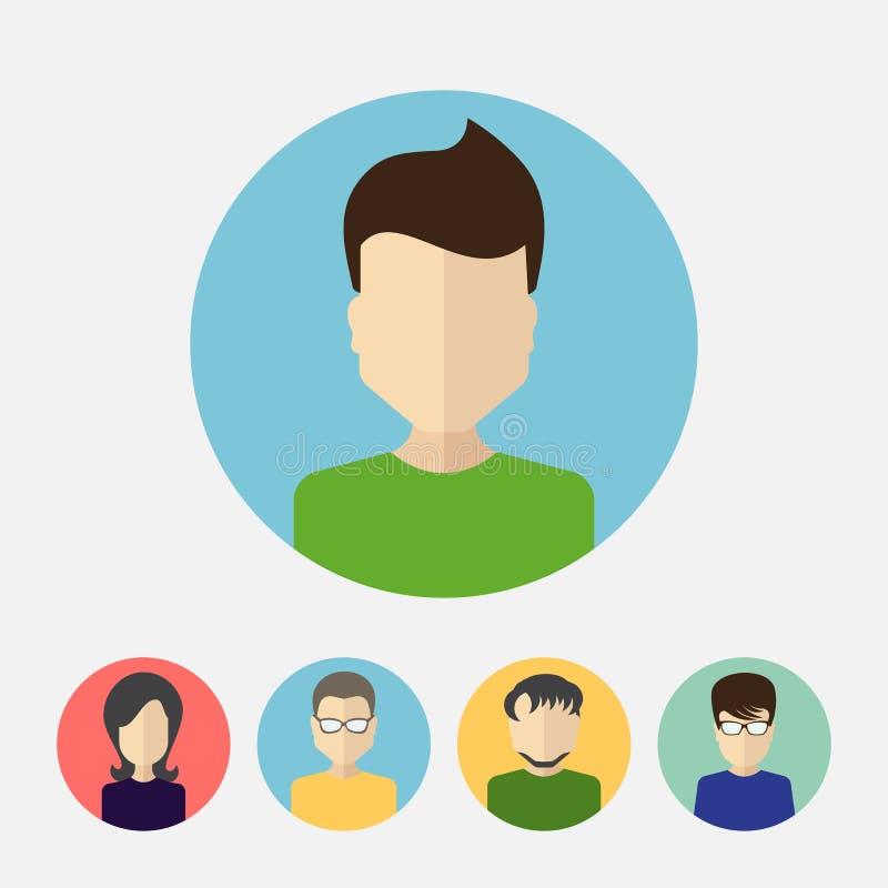 L'ensemble de masculin et de femelle fait face à la collection d'icône d'avatars ou de personnes illustration libre de droits