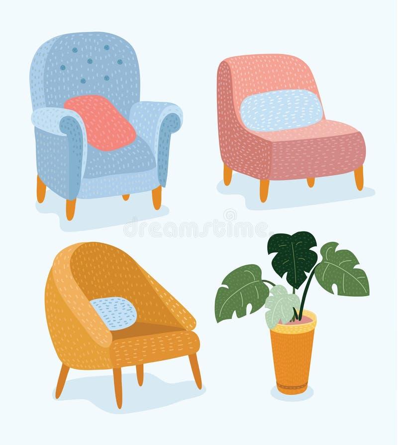 L'ensemble de meubles tirés par la main et de détail intérieur préside le magasin de croquis de vecteur, appartement, promotion,  illustration stock