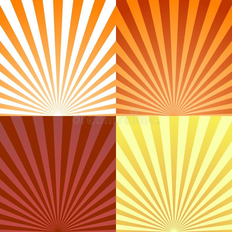 L'ensemble de milieux rayonnent ou soustraient des rayons du soleil Placez l'éclat de rayon de texture et le rétro fond de rayons illustration de vecteur