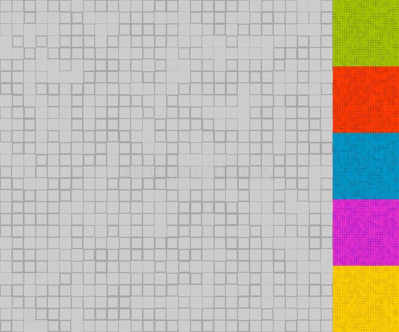 L'ensemble de modèles de mosaïque avec les places aléatoires 5 colore + gamme de gris illustration libre de droits