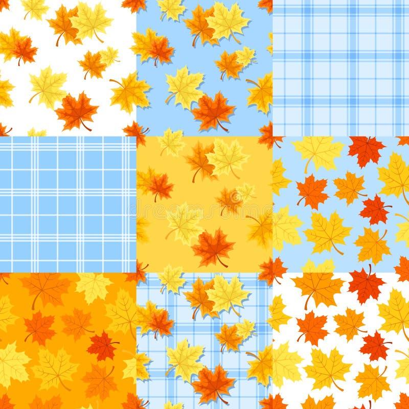 L'ensemble de modèles sans couture d'automne coloré avec l'érable part Illustration de vecteur illustration stock