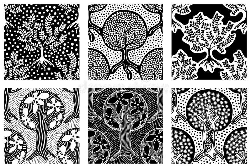 L'ensemble de modèles sans couture, dirigent l'illustration de répétition tirée par la main, arbres sans fin stylisés ornementaux illustration de vecteur