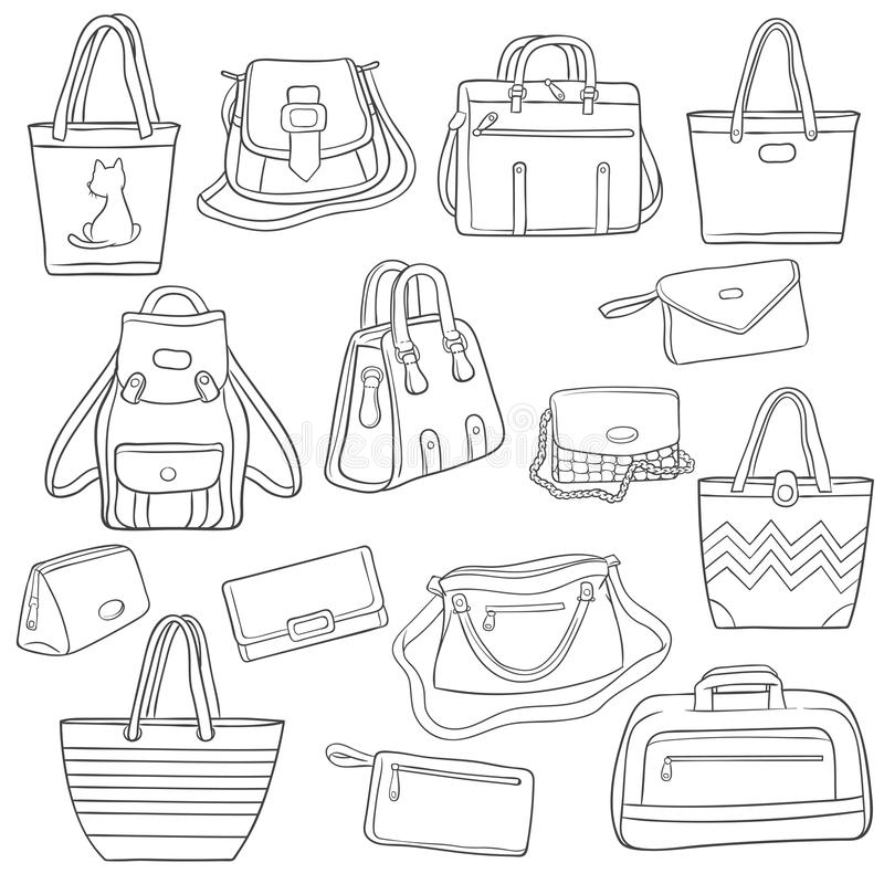 L'ensemble de mode noire et blanche d'ensemble met en sac la collection illustration stock