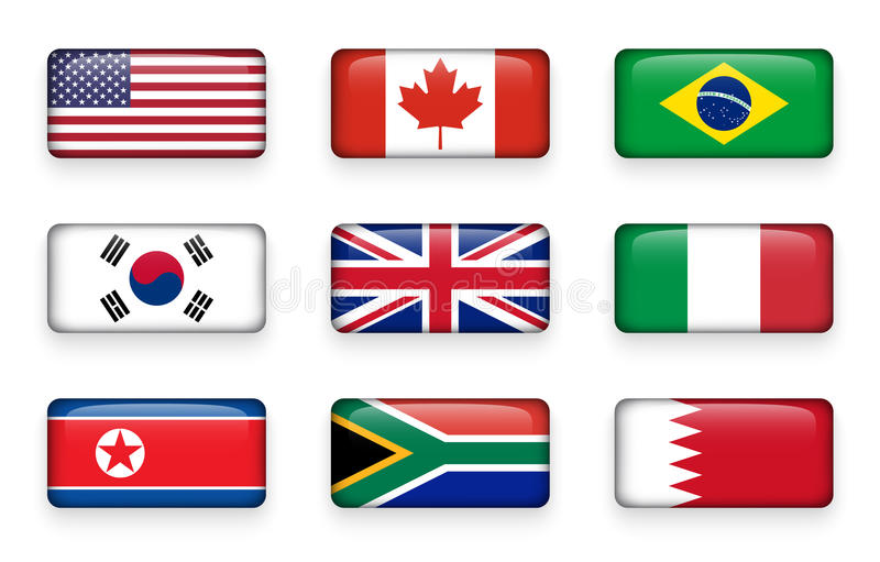 L'ensemble de monde diminue autour des boutons Etats-Unis de rectangle canada brazil LA CORÉE DU SUD Le Royaume-Uni de la Grande- illustration de vecteur