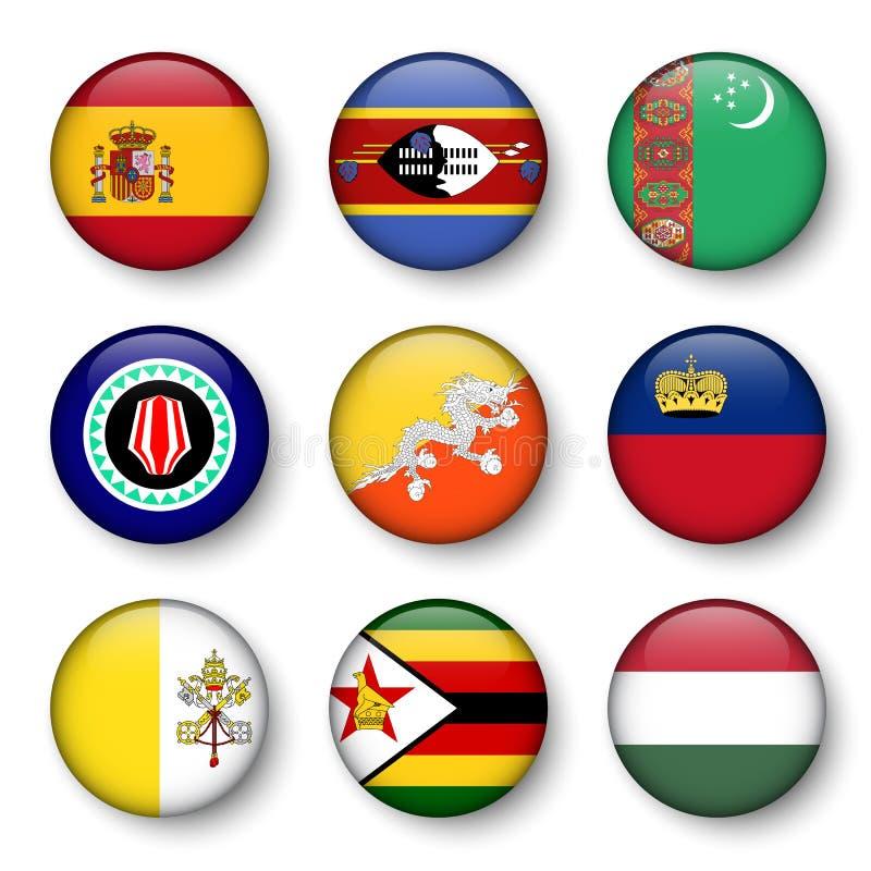 L'ensemble de monde diminue autour des insignes illustration stock