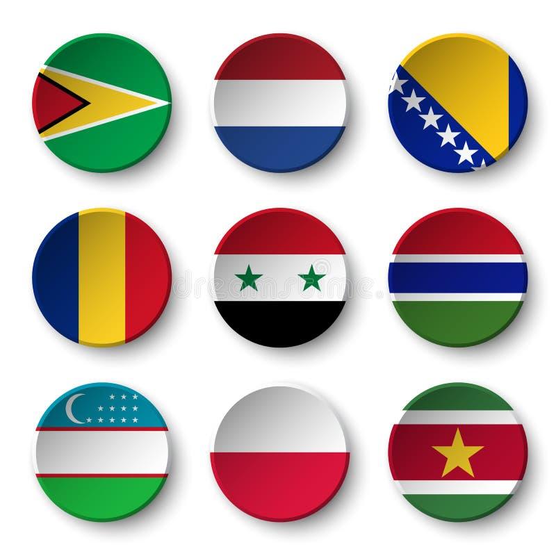 L'ensemble de monde diminue autour des insignes Guyane netherlands La Bosnie-et-Herzégovine Roumanie la Syrie gambia uzbekistan p illustration de vecteur