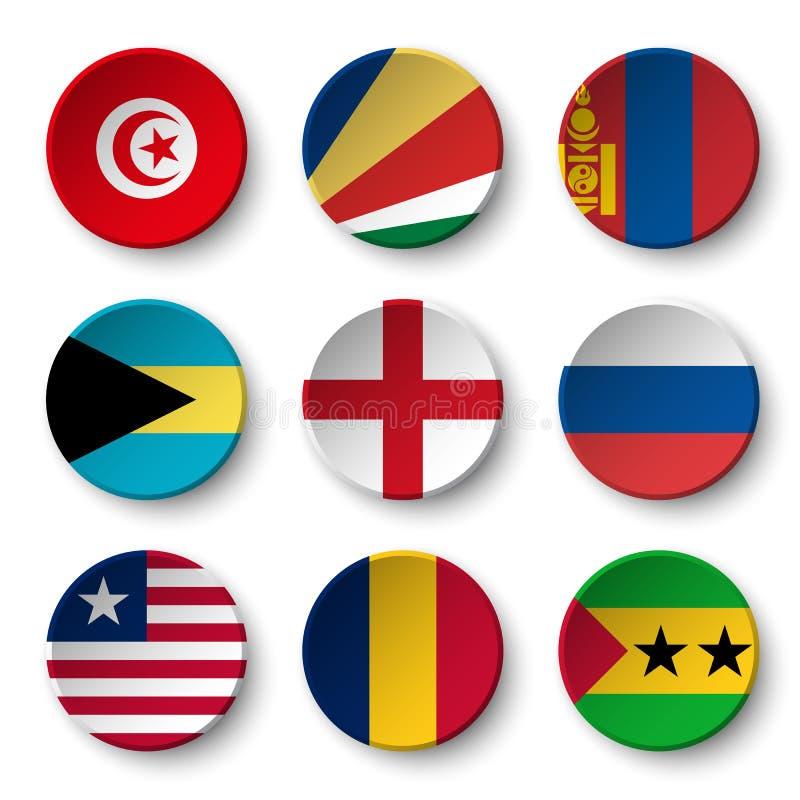 L'ensemble de monde diminue autour des insignes Tunisie seychelles mongolia bahamas l'angleterre Russie liberia chad Le Sao Tomé  illustration de vecteur