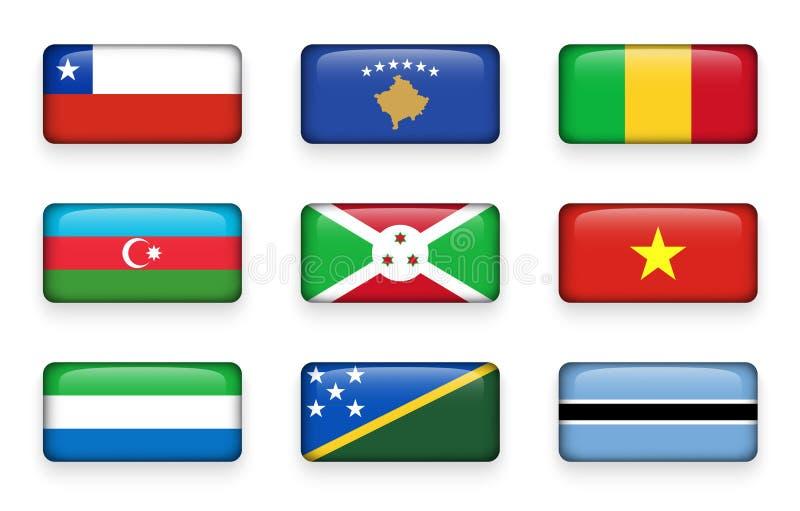 L'ensemble de monde marque des boutons Chili de rectangle Kosovo mali l'azerbaïdjan burundi vietnam Sierra Leone Îles Salomon B illustration de vecteur
