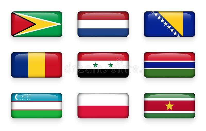 L'ensemble de monde marque des boutons Guyane de rectangle netherlands La Bosnie-et-Herzégovine Roumanie la Syrie gambia uzbekist illustration stock