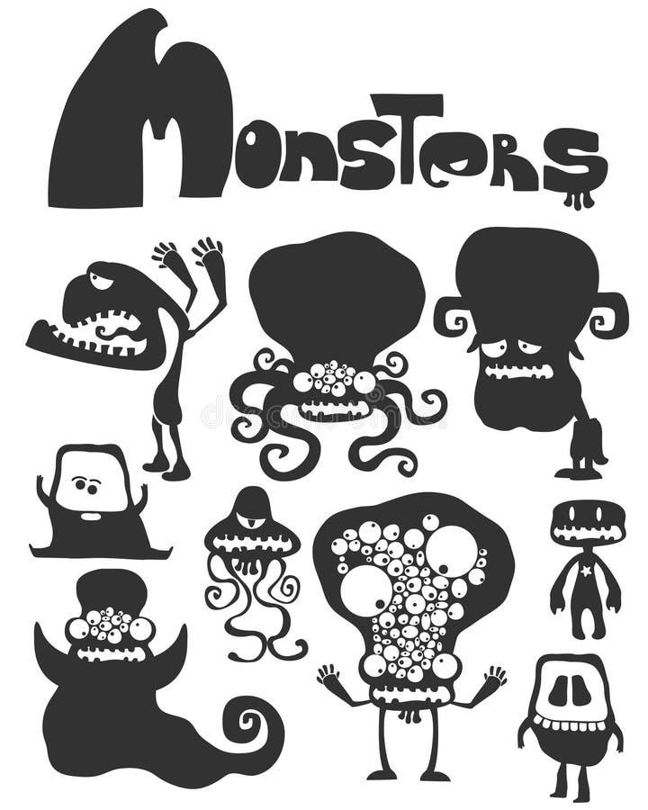 L'ensemble de monstres illustration stock