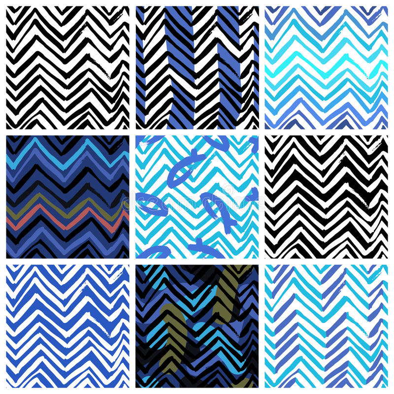 L'ensemble de neuf modèles sans couture avec le zigzag raye illustration libre de droits