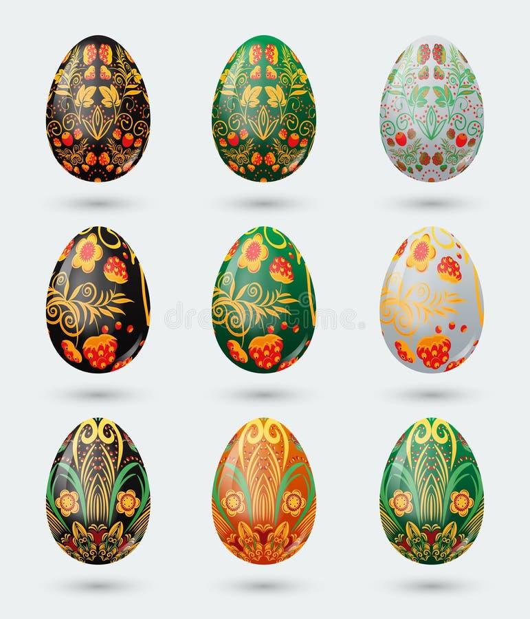 L'ensemble de neuf oeufs de pâques colorés a stylisé le modèle russe de khokhloma illustration libre de droits